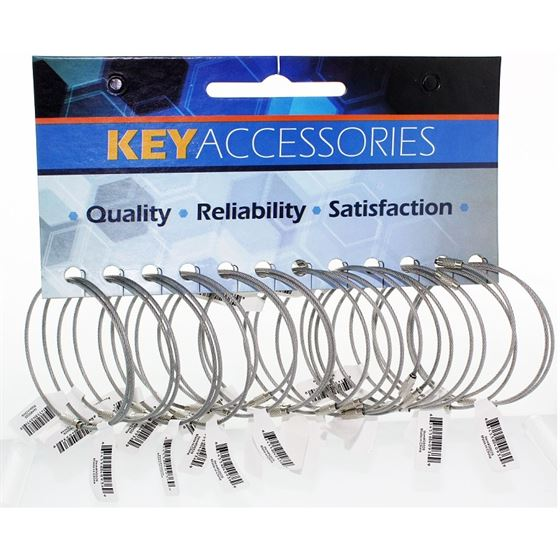 "9"" CABLE KEYRING WITH SCREW, STAINLESS STEEL"