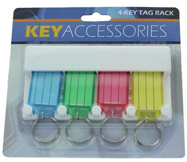 4 PC KEY TAG RACK