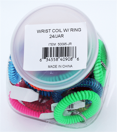 WRIST COIL WITH RING ASST 24/JAR