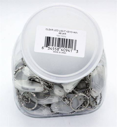 CLEAR LED LIGHT KEYCHAINS 48/JAR