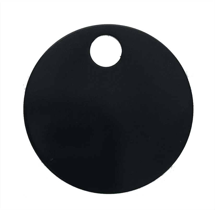 "1-1/4"" ROUND ALUMINUM TAGS (1 HOLE) - BLACK, 20/PK"
