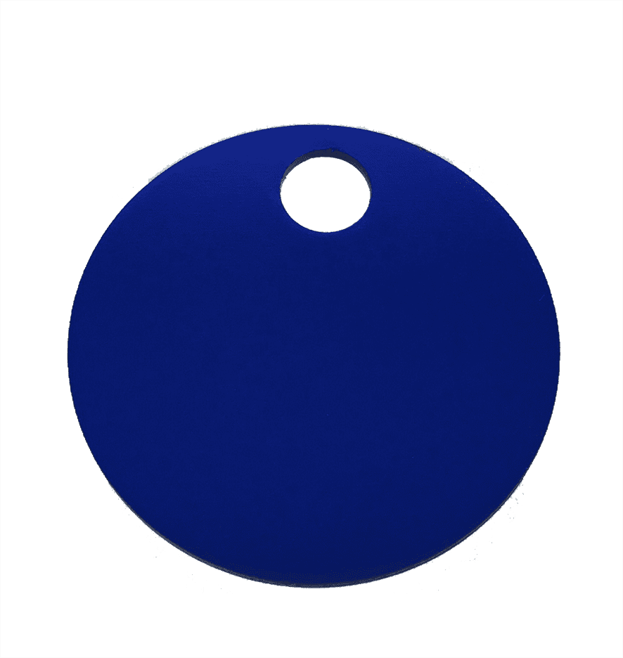 "1-1/4"" ROUND ALUMINUM TAGS (1 HOLE) - BLUE, 20/PK"