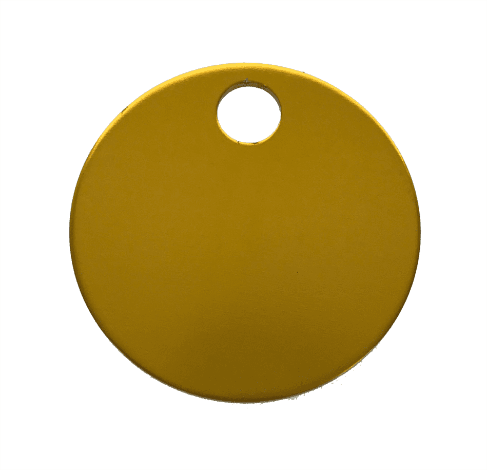 "1-1/4"" ROUND ALUMINUM TAGS (1 HOLE) - GOLD, 20/PK"