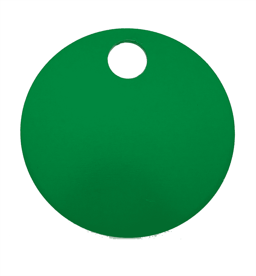 "1-1/4"" ROUND ALUMINUM TAGS (1 HOLE) - GREEN, 20/PK"