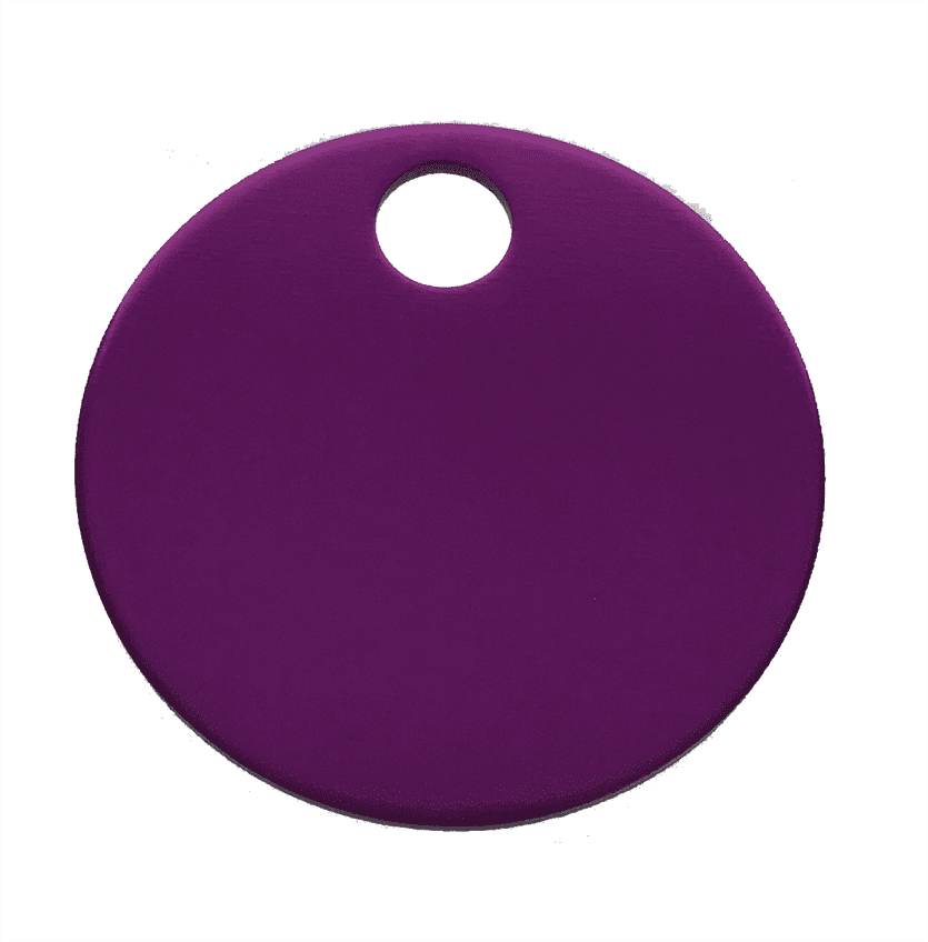 "1-1/4"" ROUND ALUMINUM TAGS (1 HOLE) - PURPLE, 20/PK"