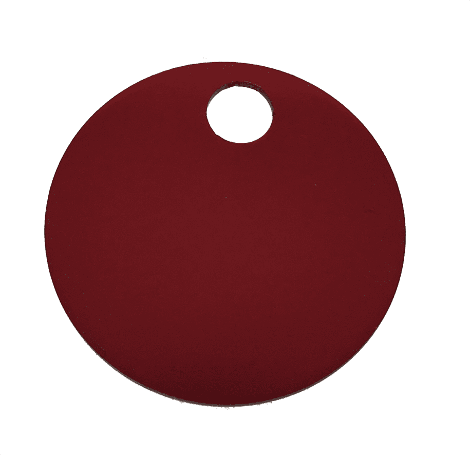 "1-1/4"" ROUND ALUMINUM TAGS (1 HOLE) - RED, 20/PK"