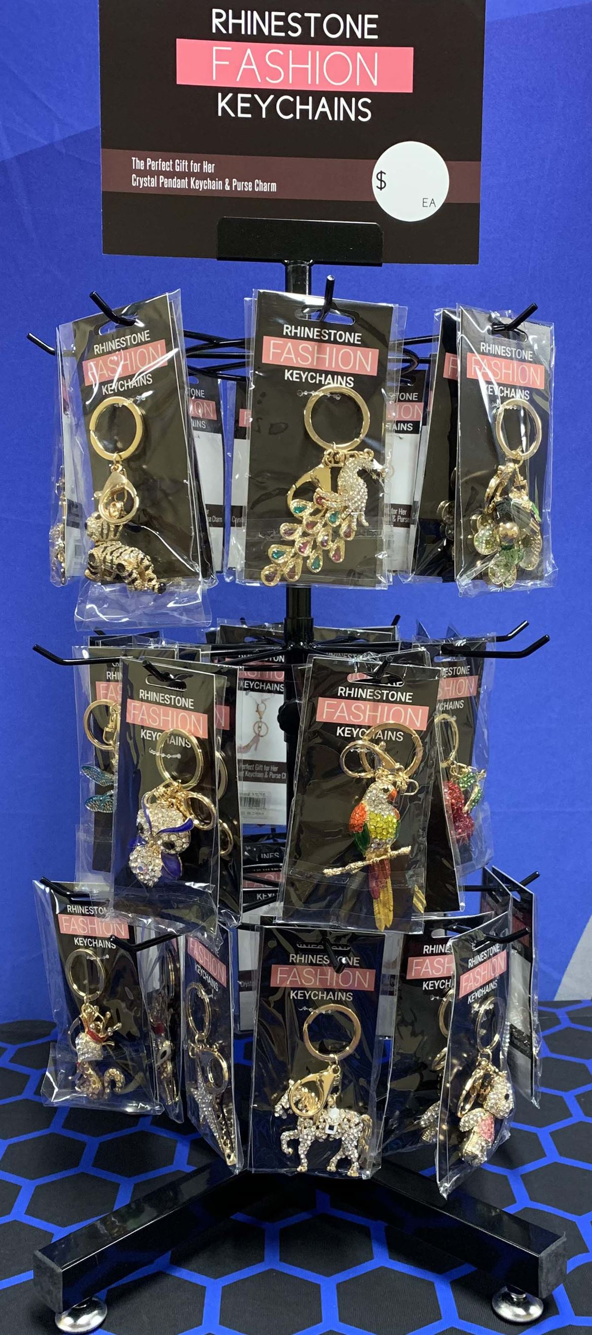 RHINESTONE FASHION KEYCHAIN, 48/DISPLAY