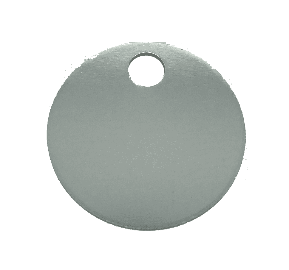 "1-1/4"" ROUND ALUMINUM TAGS (1 HOLE) - SILVER, 20/PK"