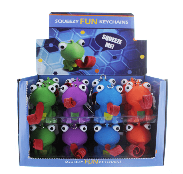 FROG SQUEEZY FUN KEYCHAIN 24/DSP